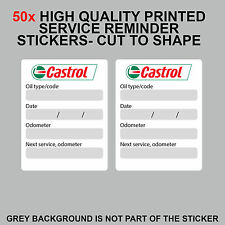 50x CASTROL Oil Change Service Reminder stickers adhesive labels - set of 50