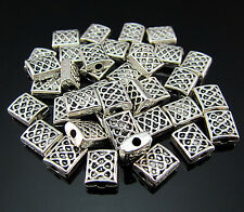 FREE 50PCS Crafts Tibetan silver Totems Square Findings Pendant Rondelle beads
