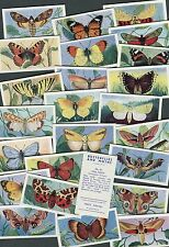 "AMALGAMATED TOBACCO 1957 SET OF 25 ""BUTTERFLIES AND MOTHS"" CIGARETTE CARDS"