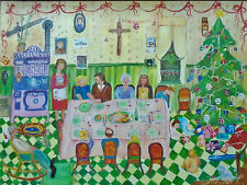 FABULOUS QUEBEC FOLK ART CHRISTMAS SUPPER SIGNED-as good as it gets