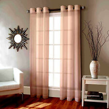 2 FAUX SILK WINDOW PANEL SEMI SHEER CURTAIN DRAPE GROMMET LIGHT PINK 108""