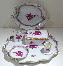 Herend Porcelain Chinese Rose Pattern Tray Box Candlestick Leaf Dish Match Box