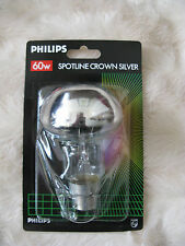 4x Philips 60W B22 Spotline Crown Mirror Silvered Light Bulb Lamp Reflector
