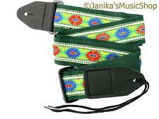 ELECTRIC ACOUSTIC GREEN PATTERNED GUITAR STRAP - BRIGHT FOLK COUNTRY 115M NEW