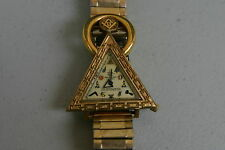 VINTAGE MASONIC WALTHAM TRIANGLE WATCH MANUAL WIND GOLD PLATED needs service