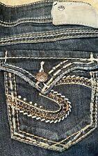 SILVER McKenzie Chain Gem Embellishment Flap Capri Jeans Women's Size 27