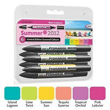 Letraset Promarkers - 6 Marker Set - Limited Edition 2012 - New Summer Colours