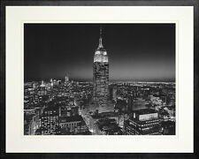 Empire State Building at Night. New York. Photo Print. Wood Black Frame