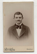 PHOTO - CDV - Homme Noeud Robert KAISER - Genève - Suisse - Vers 1900 Vintage.