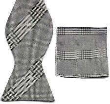 BW023 Gray White Unique Tuxedo Bowtie Men's Self Bow Tie + Match Handkerchief