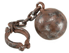 BALL AND CHAIN PROP HALLOWEEN SCROOGE PRISONER CONVICT PIRATE FANCY DRESS NEW