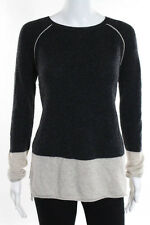 Velvet by Graham & Spencer Gray Ivory Cashmere Crew Neck Sweater Size Small