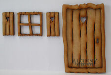 Rustic Log Cabin 3D Fairy Door Kit with Door Frame, Window and Shutters