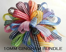 10MM GINGHAM RIBBON BUNDLE 10 X 1MTR by BERISFORDS