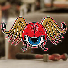 Flying Helmet sticker decal genuine Holy Garage hot rod old school eye 4""