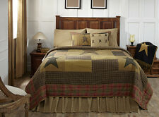 STRATTON Luxury King Quilt Patchwork Applique Star Tan/Olive/Red Rustic Plaid
