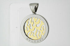 BULGARI Tondo Fire Pendant 18K Yellow Gold & Stainless Steel (S1353)