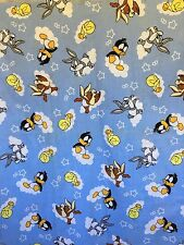 VTG 1998 Baby Looney Tunes Characters Fabric 1 1/2 Yards Material Warner Bros