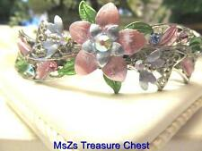 Pink Flower Hair Barrette w Various Crystals & AB Crystal in Center * NEW *