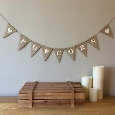 ❤️ POPCORN Candy Cart Hessian Bunting Banner Vintage Rustic Wedding❤️
