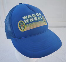 Vintage Snapback Trucker Hat Wagon Wheel Produce Farm Fruit Blue Mesh Cap CA Dad