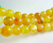 New!6mm Yellow Dragon Veins Agate Round Gemstones Loose Beads 15""