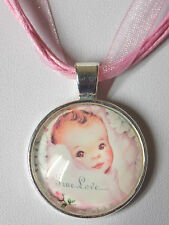 "Newborn Baby Child Cabochon Pendant Pink Organza Ribbon Wax Cords 18"" Necklace"