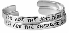 Sherlock Inspired Friendship Bracelet SET of TWO - Hand Stamped Aluminum Cuff