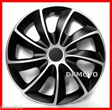 "4x15"" Wheel trims fits Skoda Rapid  Covers Hub caps 15""  full set black- silver"