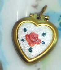 #551B Vintage Heart Locket Pendant Floral Guilloche Flowers NOS Brass Rose Ename