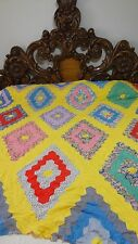 Great Vintage Feed Sack Improved Flower Garden Quilt Top w/Tiny Wear #J4