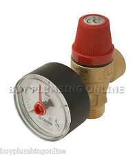 """Altecnic Safety Relief Valve 3 Bar 1/2"""" with Gauge M x F 314430"""