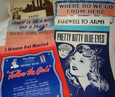 7 Piece Lot Sheet Music WWI and WWII Songs Military Themes Covers