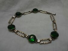 Vintage Art Deco Simmons Bracelet with Emerald Green Stones