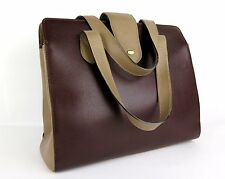 Authentic BALLY Leather Hand Bag Brown Bi-Color Made in Italy