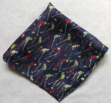 "ROLLED SILK NEW MENS TOP POCKET SQUARE HANKIE HANDKERCHIEF NAVY GOLF 10"" X 10"""