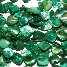 MPX1113 10-Strands Teal Green 16-25mm Diamond Nugget Mother of Pearl Shell Beads