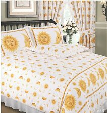 DOUBLE BED DUVET COVER SET SUN AND MOON WHITE YELLOW GOLD STARS BORDER 68 PICK