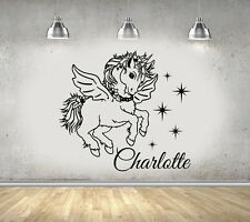 Personalised Unicorn Girls Bedroom Wall Art Sticker/Decal Add Any Name!