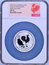 2017 P Australia Silver Lunar Year of the Rooster 2 oz $2 Coin NGC MS70 ER