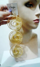 Yellow Dream Catcher Dangle Hoop Basketball Wives Fashion Circle Wheel Earrings