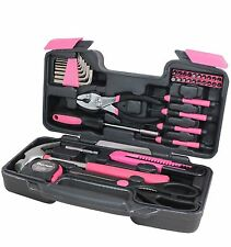 39 Piece Tool Set Kit Box Pink. Women Ladies Girls Female Hammer Pliers Scissors