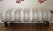 A Quality Long Footstool In Laura Ashley Forbury Dove Grey Fabric