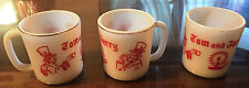 Vintage Set of 3 Tom and Jerry White Milk Glass Coffee Cups Mugs