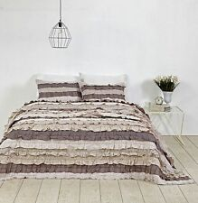 New 3 PC VHC Brands Aria Ruffled Quilt  Set KING Eyelet Grey Limited Edition