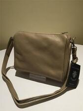 Beige Genuine 100% Italian Super Soft Leather Cross Body Handbag Shoulder Bag*