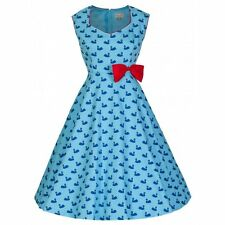 NEW VINTAGE FIFTIES STYLE BLUE SWAN PRINT LEDA PARTY SWING DRESS SIZE 12