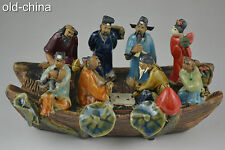 China Delicate Handwork Porcelain Carve 8 Different Face Colored Drawing Statue