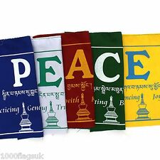 * PEACE Prayer Flags Sanskrit Bunting Small - Hand Made in Nepal (NP222) *