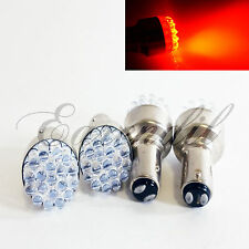 1157 4 Pc BAY15d 7528 Red Round 19 LED Bulbs #W4 Parking Tail Stop Brake Light